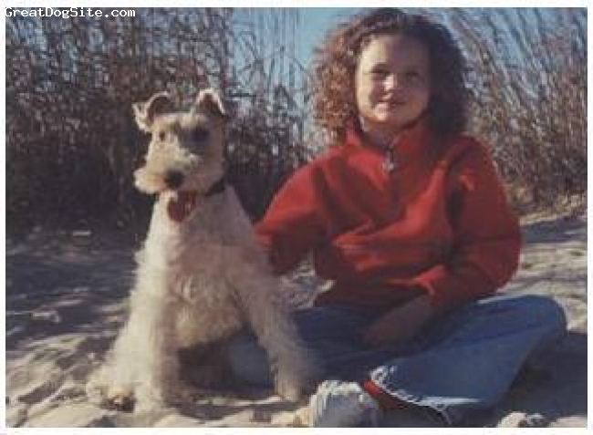 Wirehaired Fox Terrier, 2, white with black spot on back, Bailey and his owner Laura on Virginia Beach. He is now 8 years old, and Laura is 15.